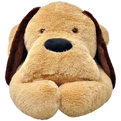 Plush Puppy Dog Toy XLarge Kids Lying Soft Fun Hug & Cuddle Toy Beige Brown Gift #SmartDealsMarket