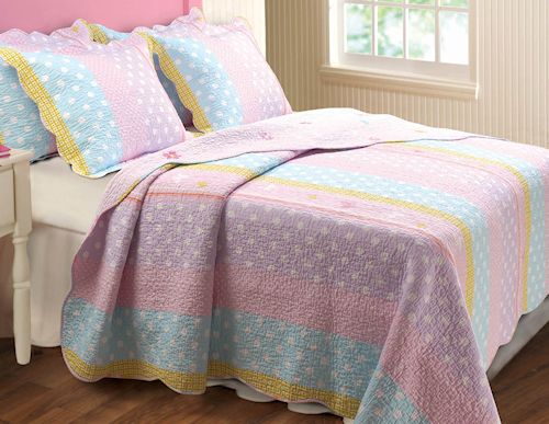 Lavender Pink Blue Polka Dot Bedding Twin Full Queen Quilt