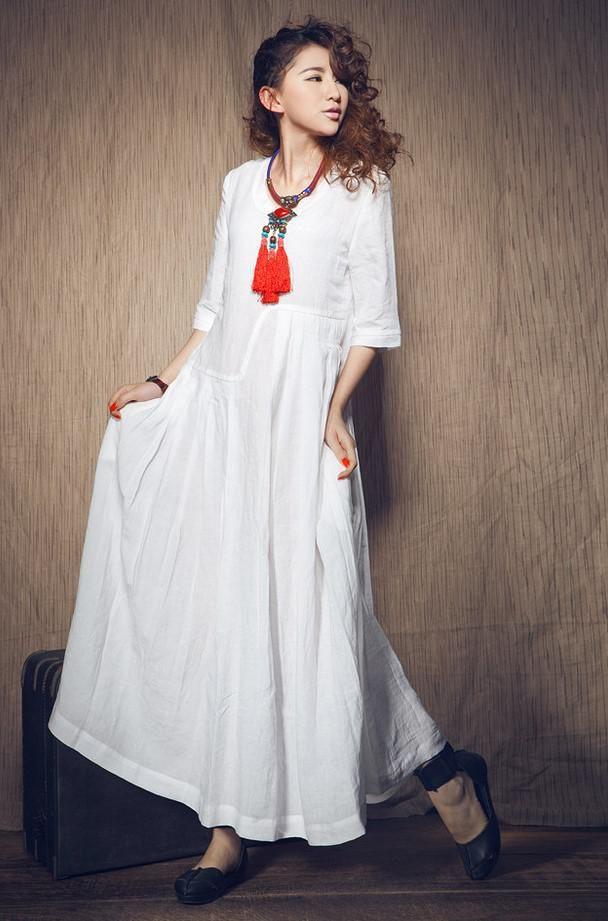 белое бохо платье в пол