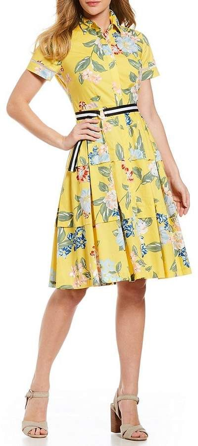 30d83d371c19 Donna Morgan Floral Print Stripe Belt Cotton Poplin Shirt Dress   My ...