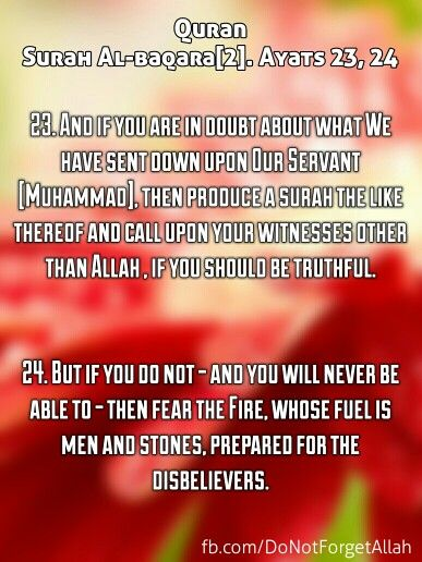 Quran Surah Al-baqara[2]. Ayats 23-24  23. And if you are in doubt about what We have sent down upon Our Servant [Muhammad], then produce a surah the like thereof and call upon your witnesses other than Allah , if you should be truthful.   24. But if you do not - and you will never be able to - then fear the Fire, whose fuel is men and stones, prepared for the disbelievers.