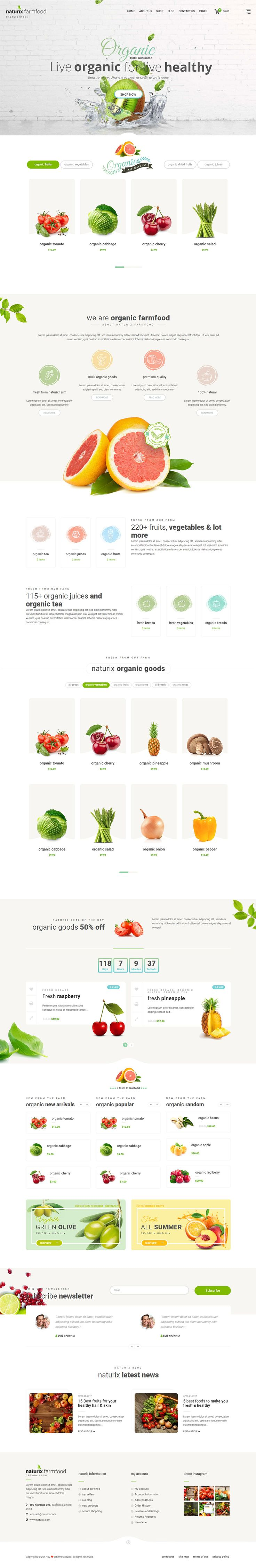 Naturix organic store is designed for Organic Store, Food market, Online food, natural items. It comes with 4 home pages and many inner pages. Naturix WordPress version is built with Bootstrap v3 and its fully tested with WordPress 4.8 and Woocommerce 3.x.