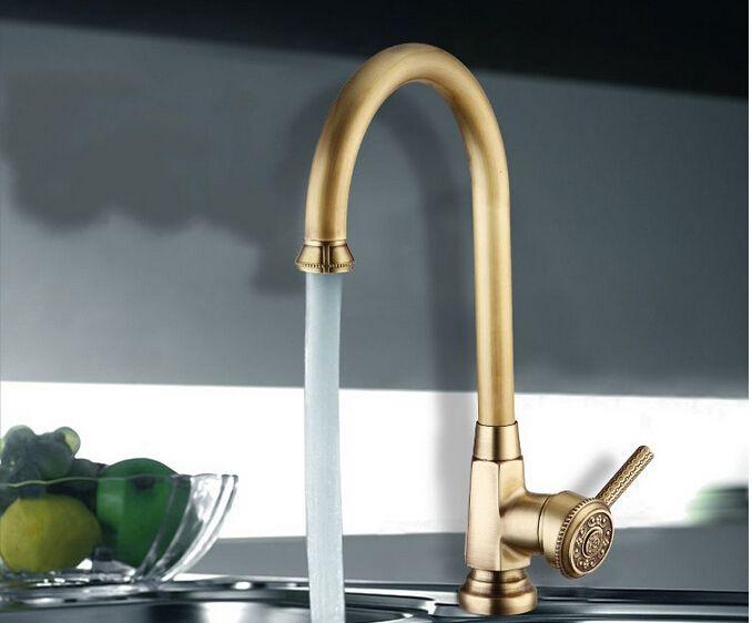 Luxury Elegant Antique Gold Bronze Faucet Kitchen Bathroom Vessel Sink Mixer Tap Swivel Cozinha Torneira Plumbing Sanitary