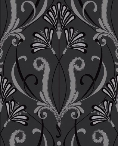 Orianna (M0449) - Vymura Wallpapers - A fantastic Art Deco style design in silver and black with silver glitter for stunning effect. Irridescent inks catch the light giving the paper added glamour. Please order a sample for true colour match.