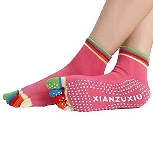 New Anti-slip Dot Organic Antimicrobial Wearable Cotton Colorful Toe Yoga Socks (Rose) ** Want to know more, click on the image.  This link participates in Amazon Service LLC Associates Program, a program designed to let participant earn advertising fees by advertising and linking to Amazon.com.