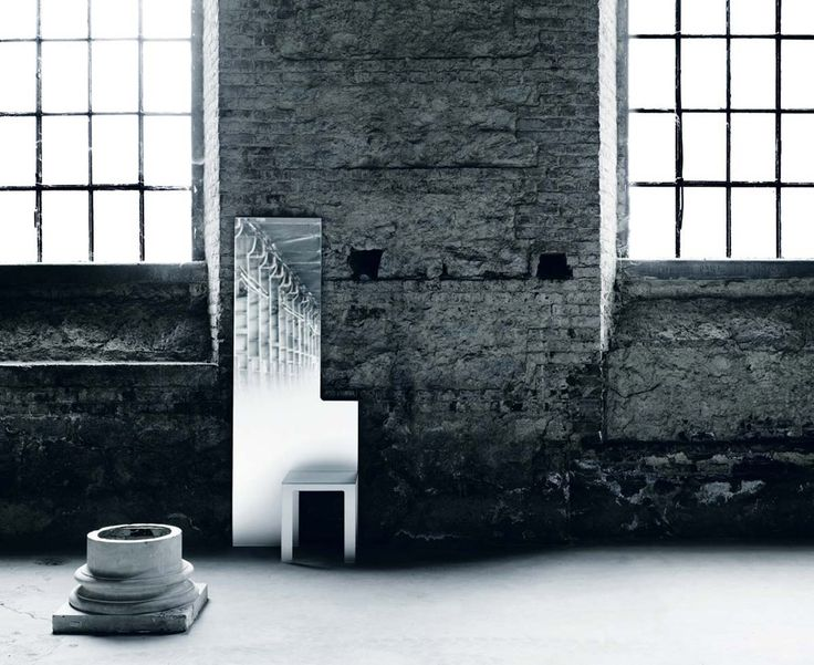 Mirror collection integrated by a chair or a stool. Made entirely in tempered and silver coated extralight crystal  / DESIGN NENDO / BY GLAS ITALIA / YEAR 2013  