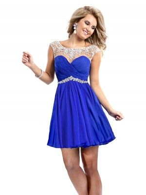 Royal Blue A-line/Princess Mouwloos Chiffon Kralen Scoop Korte Broek/Mini Jurkjees voor € 359,88