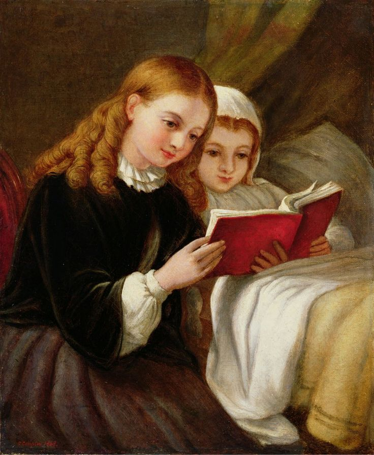 """""""Bedtime Story."""" Charles Compton (1828-1884), English painter. Oil on Canvas."""