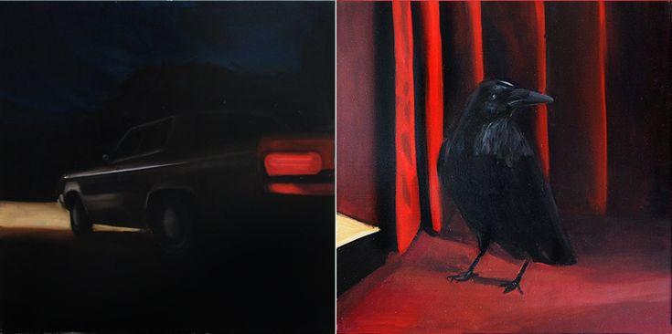 Havran v červeném salónku, oil on canvas, 2x 50x50xm