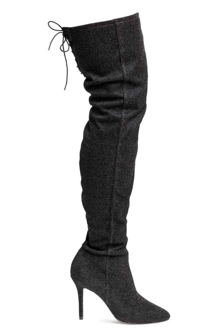 Thigh-high Boots - Black/glittery - Ladies | H&M CA 1