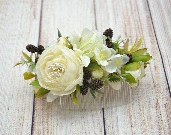 Flower Hair Comb Ivory haj fésű Virág Hair Ivory Esküvői haj tartozékok esküvői haj fésű Menyasszonyi haj tartozékok Ivory menyasszonyi fésű