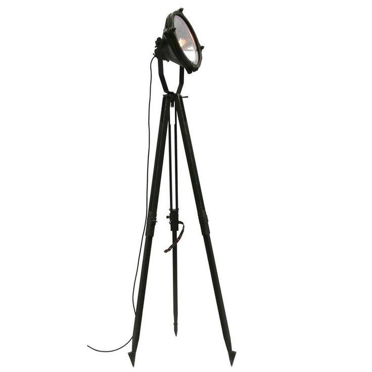Vintage Industrial Mirror Spot Light Floor Lamp Green Wooden Tripod (29x) 1