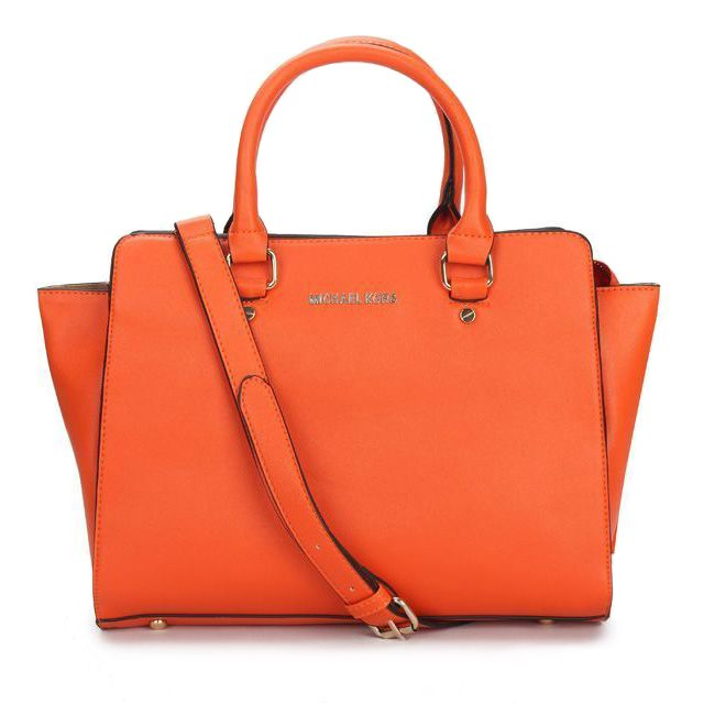 Michael Kors Selma Top-Zip Large Orange Satchels only $72.99