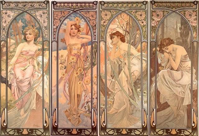 Los momentos del día (1899), de Alphonse Mucha