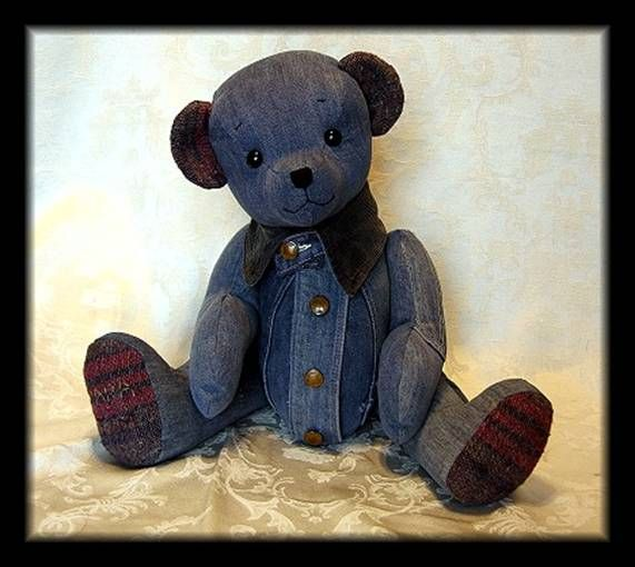 memory bears - this lady makes bears out of old clothing from someone special in your life...neat idea...