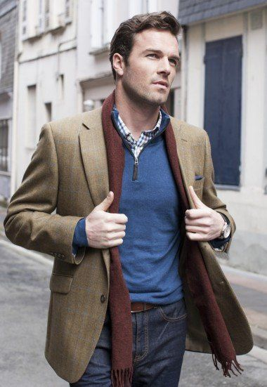 Men's Tweed Jacket - Olive with Blue Check