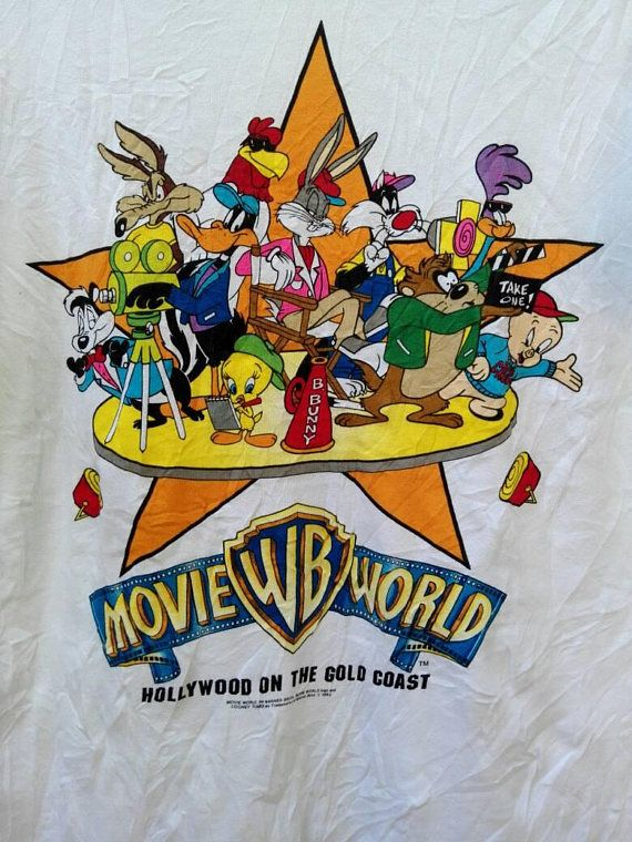 387b21c985 Rare!!!Vintage 90s Movie World Warner Bros T Shirt