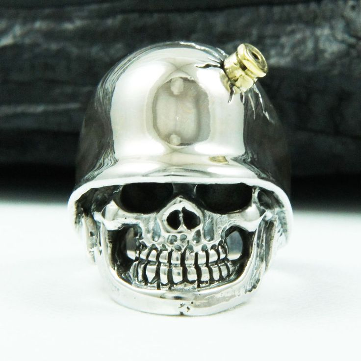 BULLET on SKULL COMBAT HELMET 925 STERLING SILVER US Size 8.5 MEN'S BIKER RING