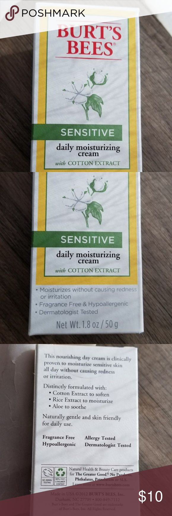 NIB Burt's Bees Sensitive Daily Moisturizing Cream New in box, never used Burt's Bees face cream. Item description:  -One full-size Burt's Bees Sensitive Daily moisturizing cream with cotton extract, 1.8 oz, new in box From pet and smoke-free home. Questions? Let me know! Thanks for looking :) Burt's Bees Makeup