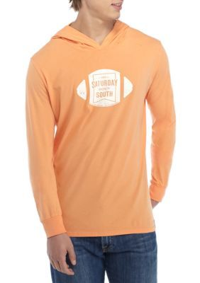Saturday Down South Men's Long Sleeve Football Hoodie Tee - Melon - 2Xl