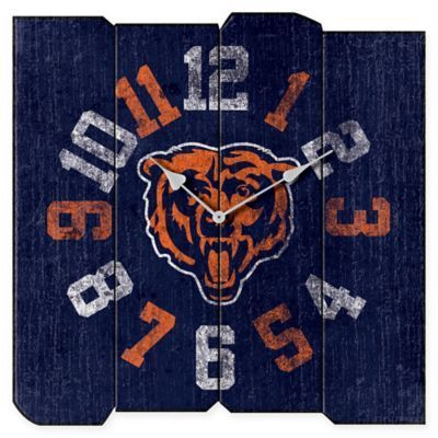 $59.99 - NFL Chicago Bears Vintage Square Wall Clock - Add vintage-inspired, pro football flair to your office or man cave with the NFL Vintage Wall Clock. Boasting bold numbers in official team colors, this weathered wall clock features the logo of your favorite NFL team and makes a great accent in any room.