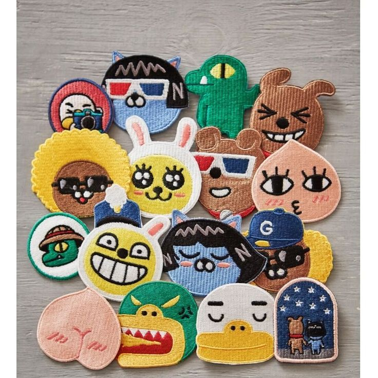 Kakao Friends Official Goods Embroidery Wappen Badge Muzi Apeach Tube GKKF0051