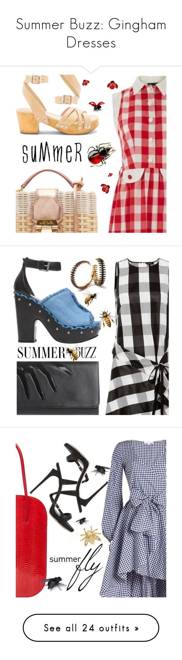 """Summer Buzz: Gingham Dresses"" by sharmarie ❤ liked on Polyvore featuring Mark Cross, Latigo, Lowie, dresses, summer shirt dresses, long shirt dress, button down shirt dress, sleeveless dress, button down dress and rag & bone"