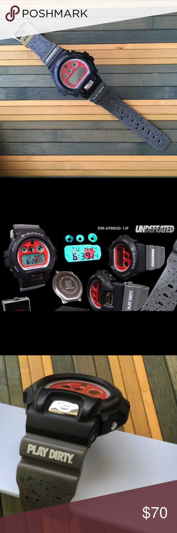 G Shock + Undefeated limited edition collab Undefeated x Casio G-Shock limited edition callob DW6900 it comes with the UNDFTD logos in the backlight NO Original metal case/ manuals.  Battery is dead and must be replaced G Shock Accessories Watches