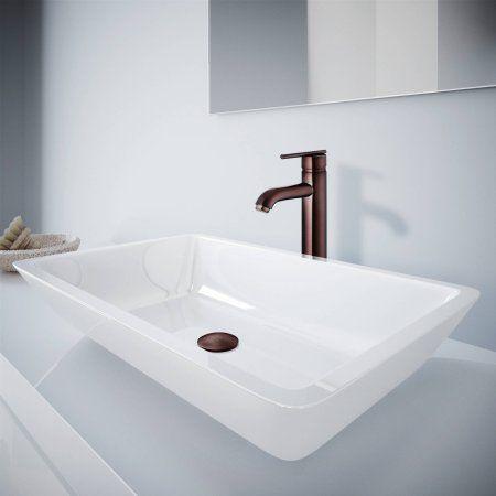 Large Flat-Edged Rectangular White Phoneix Stone Vessel Bathroom Sink and Seville Vessel Faucet Set