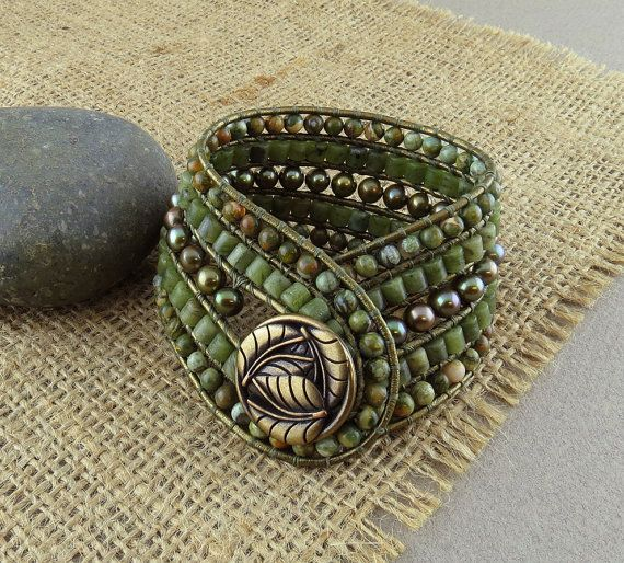 Beaded Leather Cuff Bracelet with Freshwater Pearl Jade &