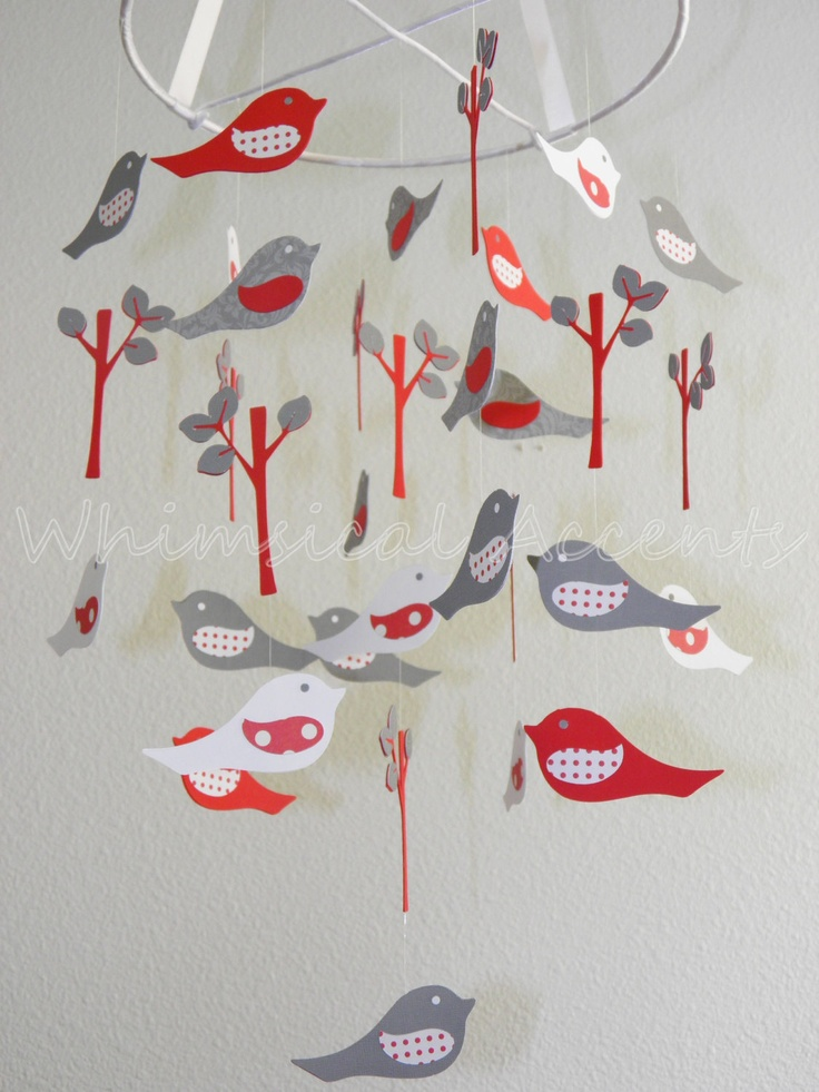 Love Birds Baby Paper Mobile I LIKE THE COLORS AND THE IDEA OF ADDING TREES OR FLOWERS WITH THE BIRDS