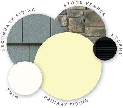 Mastic color palette, vintage moxy, quest vinyl siding, cedar discovery vinyl shingle siding, louvered shutters, designer accents, trim, cobblestone stone veneer, coordinating colors