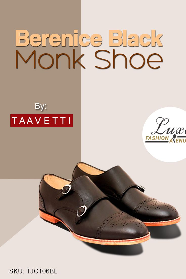 Berenice Black Monk Shoe  Luxe fashion exclusive Berenice Monk Shoe, double monk shoe with a front punch design for an elegant style.  Features:  100 % Handmade Premium Quality Leather  Upper:  Metallic Buckle with Strap Toe Punch Prominent Stitching Leather Insole Leather Lining  Sole:  Genuine Leather Sole Approx. weight of Pair 950 grams 0.75 Inch Heel  For Details Visit: https://goo.gl/Lohwec  #Shoe #Oxford #design #genuine #leather #handcrafted #formal #premium #office #FormalShoes