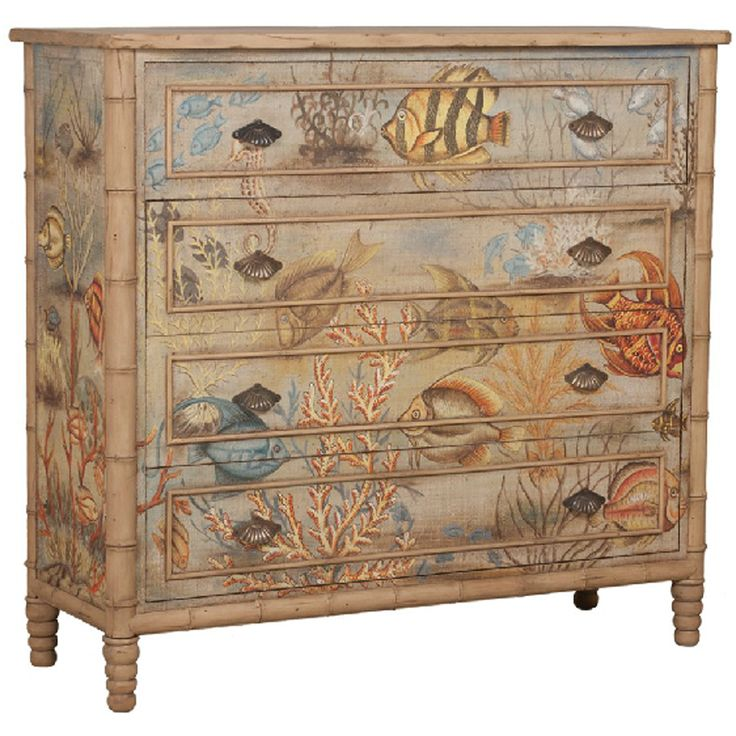 tropical painted furniture. sea island dresser at tuvalu home furnishings artisan stain finish on four drawer chest with fabric applique is handpainted bali island tropical painted furniture e