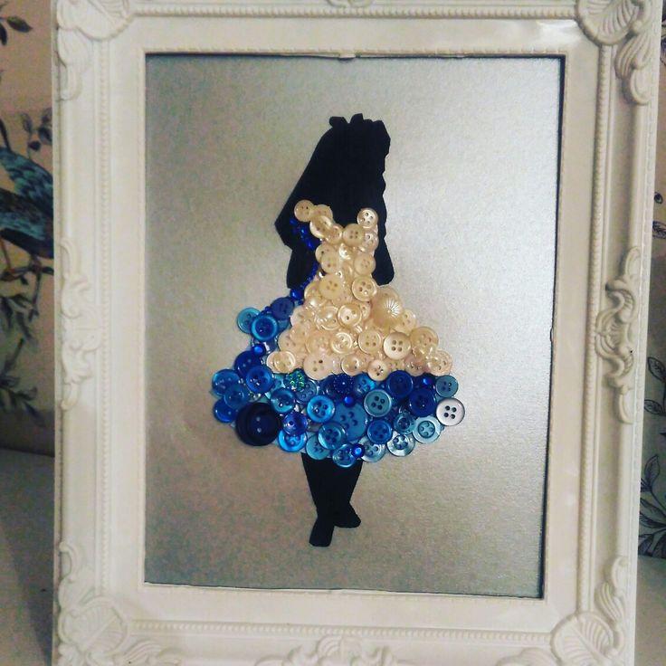 Alice in wonderland button art #clairescraftboutique