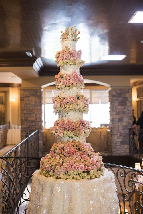 Tall Luxury Fl Wedding Cake Pink Flowers And White Fondant Las Vegas Planner