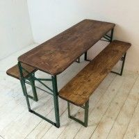 Customised length vintage German beer table and benches - Lovely and Company
