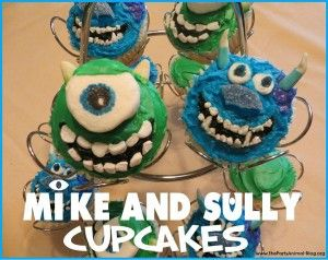 Mike and Sully Cupcake Tutorial via The Party Animal #monstersuniversity