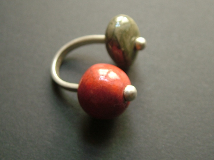 raku ceramic and stering silver ring