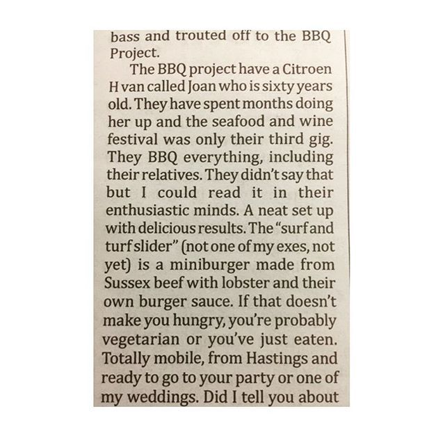 Our first review, thank you very much for the awesome words @hastingsindependentpress it's was great to be at our first Hastings seafood & wine festival in our hometown. Hopefully see you at the Herring festival in a couple of weeks. #hastings #foodtruck #review #awesome #thankyou #bbq #sussex #seafood #herring #festival #food #foodie #eatlocal #localbusiness #1066 #hastingsseafoodandwinefestival #hastingsoldtown #hastingsherringfestival #tasty #goodtimes #kindwords