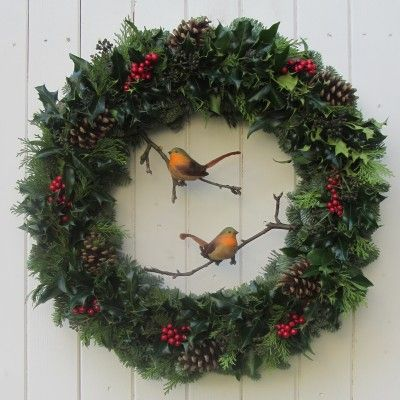 The Holly Robins Fresh Christmas Door Wreath