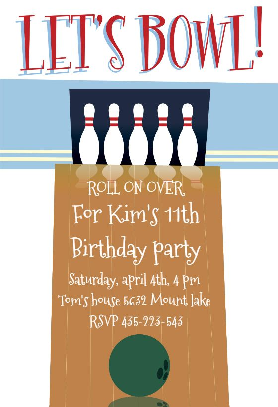A Night out Bowling - Free Printable Party Invitation Template | Greetings Island