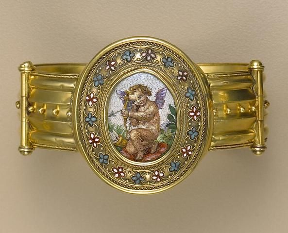 An antique micro mosaic and gold bangle bracelet, circa 1860.