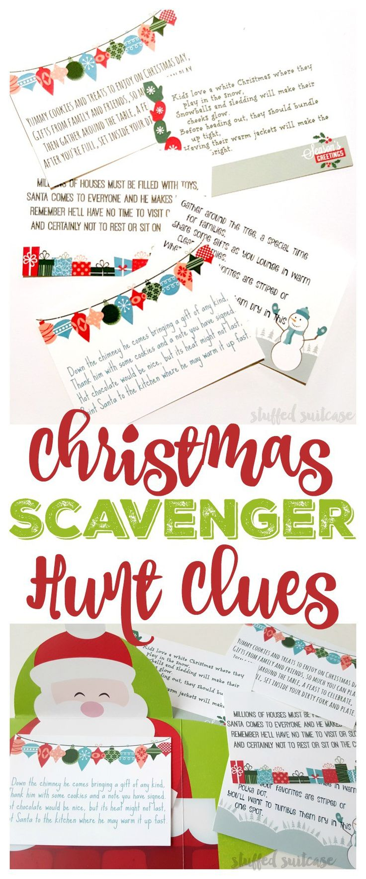 Here's the ultimate fun for Christmas morning, and a new family Christmas tradition. Place these Christmas Scavenger Hunt Riddles around the home and watch your kids follow the clues and hunt for their gift!