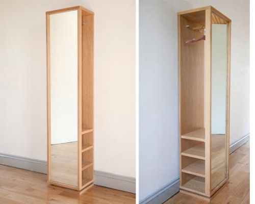 Rotating hall mirror storage unit from futon company uk
