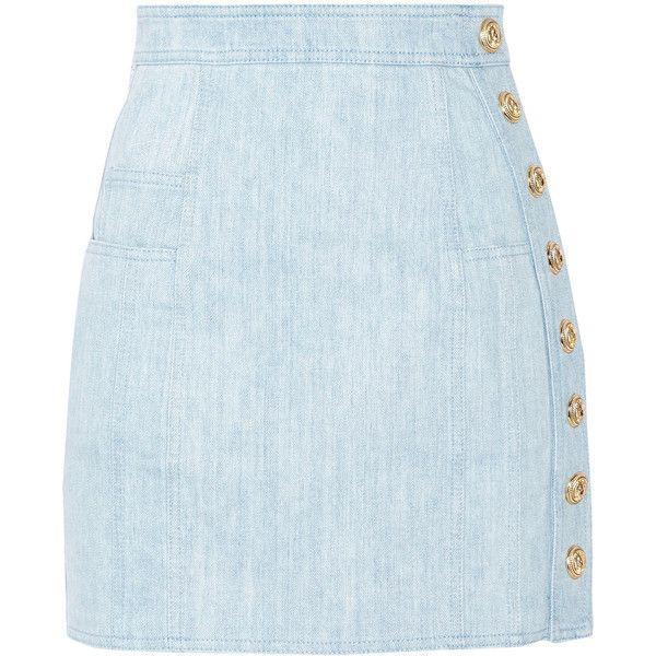 Balmain Button-detailed denim mini skirt (3.470 BRL) ❤ liked on Polyvore featuring skirts, mini skirts, bottoms, saias, blue mini skirt, balmain skirt, zipper mini skirt, short blue skirt and mini skirt