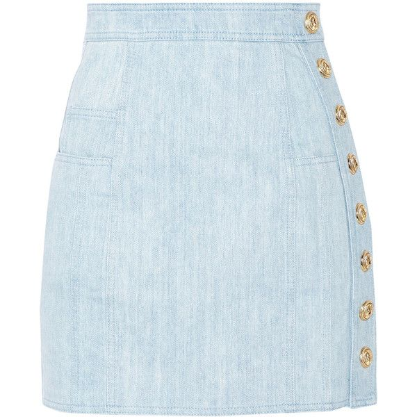 Balmain Button-detailed denim mini skirt found on Polyvore featuring skirts, mini skirts, saia, light denim, blue skirt, short skirts, denim miniskirt, short denim skirts and button-front denim skirts