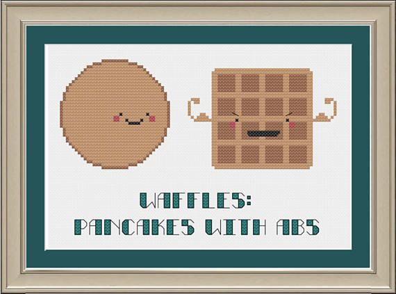 Food jokes will forever entertain me! This listing is for a pattern ONLY --- not a completed project.  Dimensions (18-count aida): 3.3 x 5.2 inches Thread requirement: 5 DMC colors Stitch count: 59 x 93 stitches  Following receipt of payment, a PDF of the cross-stitch pattern in