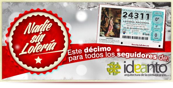 Compartimos nuestro décimo de Lotería de Navidad con nuestros seguidores. Pincha en la imagen para saber cómo participar.