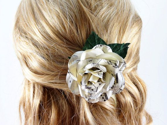 Sheet Music Wedding Hair Piece Corsage - Music Flower Clip - Flower Brooch on Etsy, $34.00